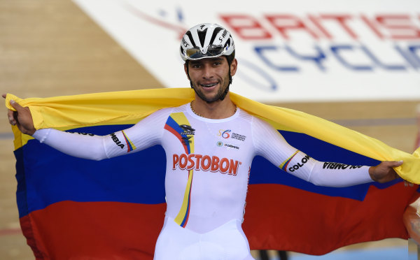 Colombia's Fernando Gaviria Rendon celebrates after winning the Men's Omnium