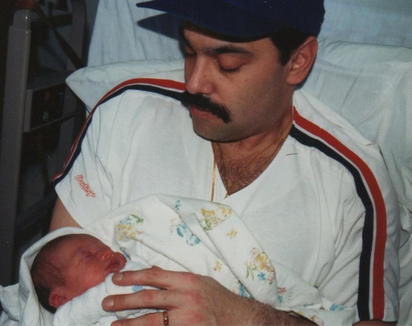 Taylor Stewart and his father.