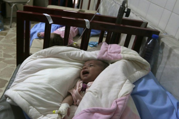 Image: Babies at hospital damaged by airstrikes in Aleppo, Syria