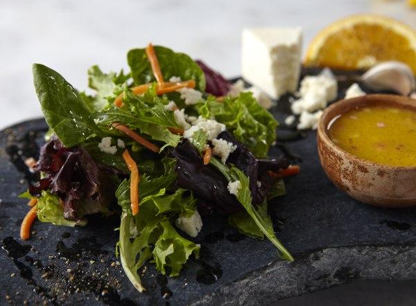 Mixed greens with Naranja Vinaigrette recipe by Jacqueline Kleis.