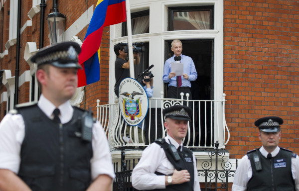 Image: Assange spoke from the balcony of the Ecuadorean embassy in London in 2012.