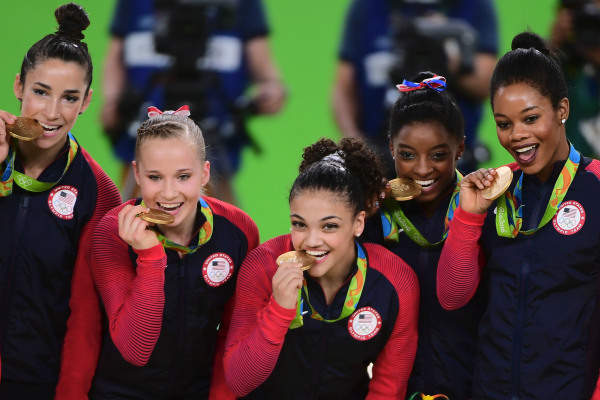 Team USA Gymnasts Pose With Gold Medals At Rio Olympics