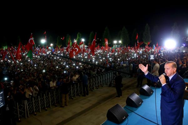 Image: Turkish President Recep Tayyip Erdogan addresses a crowd on Aug. 10, 2016