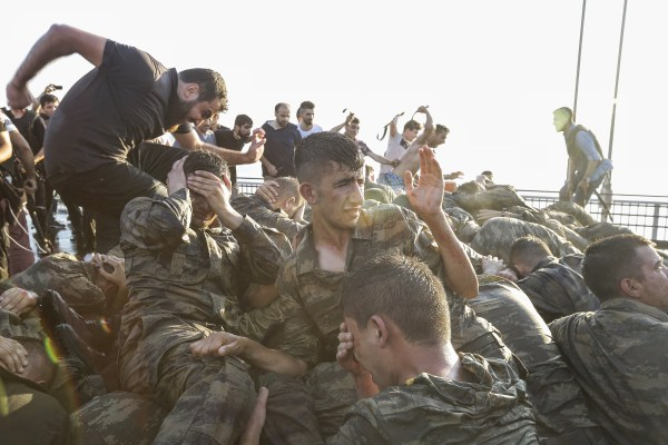 Image: Soldiers surrender after failed coup in Turkey on July 16, 2016