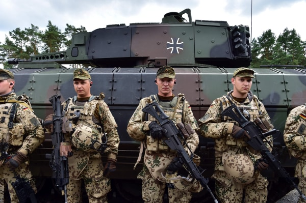 Image: German soldiers after drill on June 29, 2016