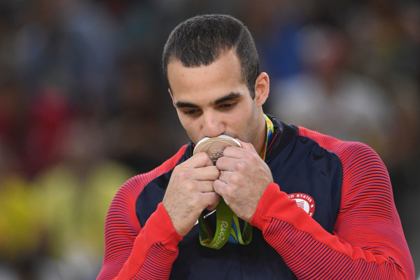 US gymnast Danell Leyva celebrates final of the Artistic Gymnastics at the Olympic Arena during the Rio 2016 Olympic Games