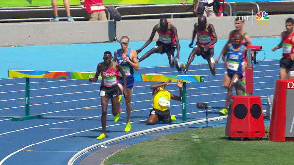 Ugandan Runner Hits Face on Steeplechase Barrier
