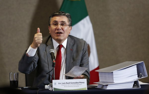 National Human Rights Commission President Luis Raul Gonzalez Perez speaks during the presentation of a report about human rights abuses by Mexico's federal police, in Mexico City