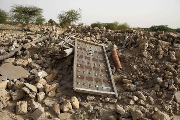 Image: A destroyed mausoleum in Timbuktu