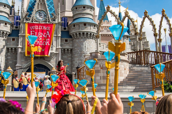 Princess Elena of Avalor, the first Latin-inspired Disney princess, receives a royal welcome from Girl Scouts