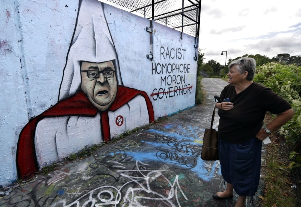Image: Graffiti painted on a public art space depicts Gov. Paul LePage
