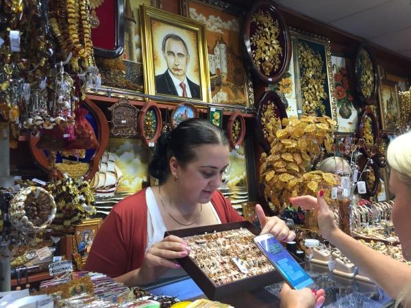 Image: Amber jewelry at kiosk near Kaliningrad, Russia