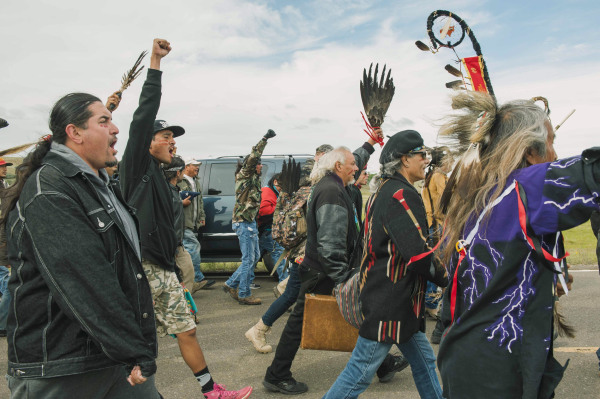 Image: Protesters demonstrate against the Energy Transfer Partners' Dakota Access pipeline near the Standing Rock Sioux reservation