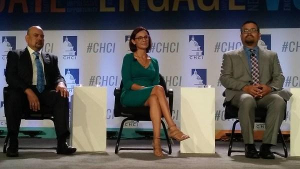 Left to right: Arturo Vargas with NALEO, Maria Teresa Kumar with Voto Latino, Matt Barreto with Latino Decisions.