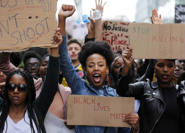 Image: Demonstrators from the Black Lives Matter movement march through central London