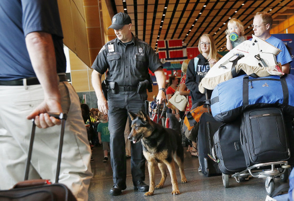 Image: Bomb-sniffing patrol at Logan International Airport on July 1