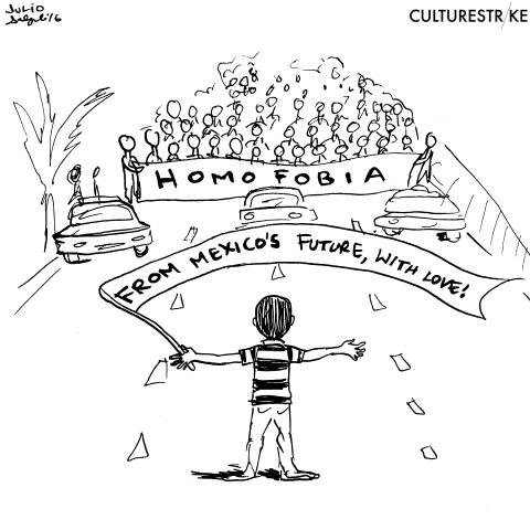 Black and white political cartoon that mirrored the original photo of the 12-year-old boy blocking anti-LGBTQ march in Mexico.