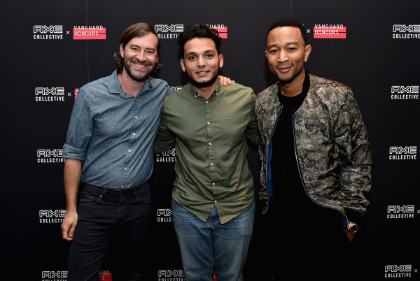Left to right: Mark Duplass, Francisco Cabrera and John Legend