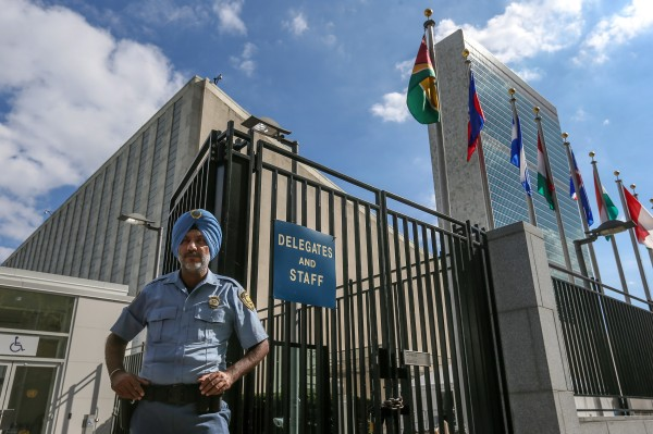 Image: A security officer at the entrance to the UN headquarters