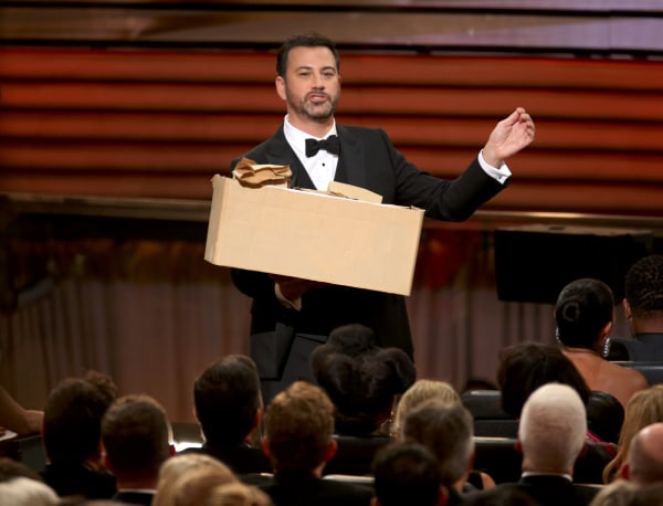 Image: Show host Jimmy Kimmel hands out sandwiches to the audience at the 68th Primetime Emmy Awards in Los Angeles,