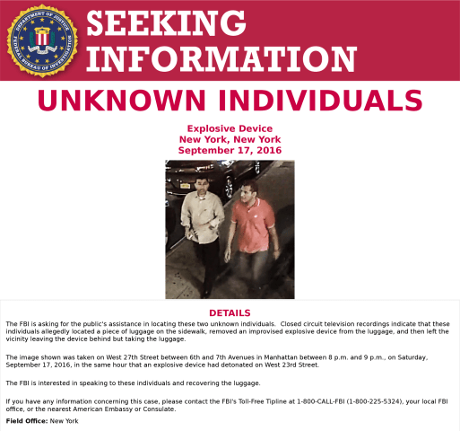 Image: The FBI released a poster seeking information about two individuals related to the New York bombing