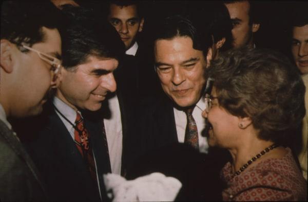 Willie Velasquez with Michael Dukakis in San Antonio, Texas.