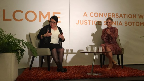 Supreme Court Justice Sonia Sotomayor speaks to female entrepreneurs at the Animus Summit in San Juan, Puerto Rico.