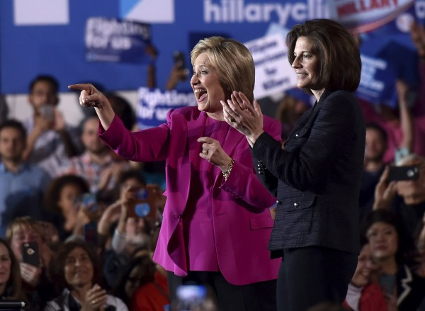 Image: U.S. Democratic presidential candidate Hillary Clinton appears on stage with Nevada Senate candidate Catherine Cortez Masto at a campaign rally at the Laborers International Union hall in Las Vegas