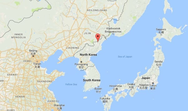 Image: Map showing Yonsa, North Korea