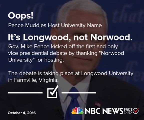 Pence Names Wrong University