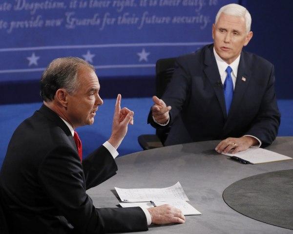 Image: Republican vice-presidential nominee Gov. Mike Pence and Democratic vice-presidential nominee Sen. Tim Kaine speak