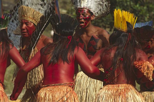 Yawanawa indigenous people dancing. Cultural traditions.