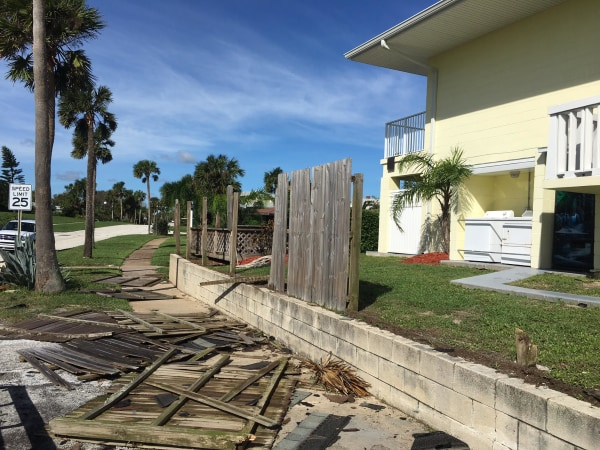 Hotel with damages from Hurricane Matthew