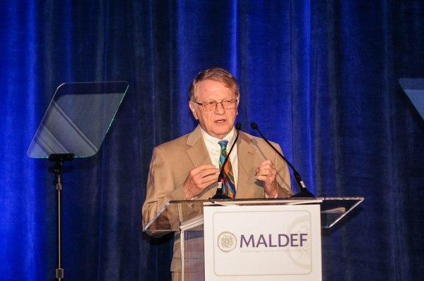 St Mary's University School of Law Professor Albert Kauffman speaks at MALDEF banquet, 2013.