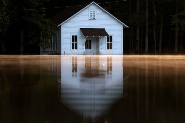Image: Mist rises off the water in Lumberton, North Carolina
