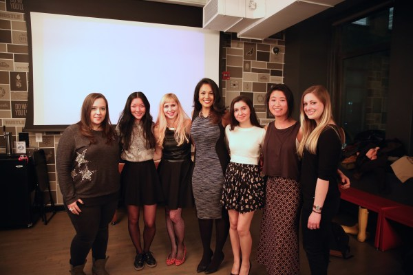 """Komal Minhas (center) with the crew of """"Dream, Girl,"""" a documentary showcasing the untold stories of female entrepreneurs."""