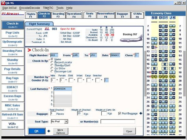 Image: A file picture of a Sabre booking interface.