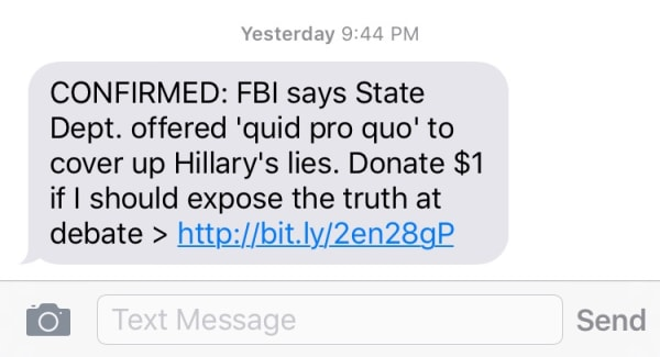 Trump fundraising text