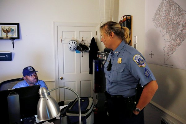 Image: Hawkins speaks with with one of her fellow officers at their office in Washington