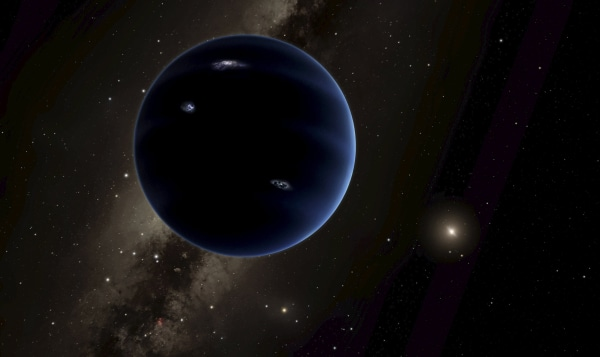 """Image: Handout of an artist's rendering shows the distant view from """"Planet Nine"""" back towards the sun"""