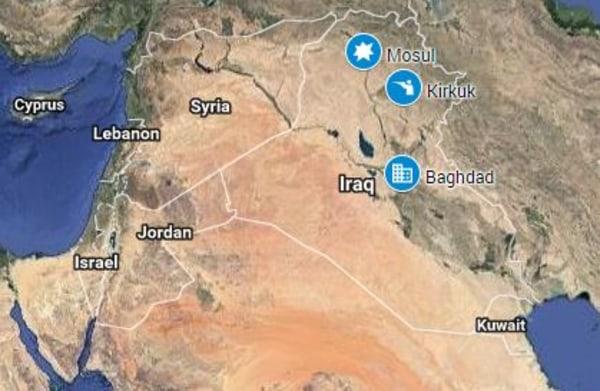 Image: A map showing Kirkuk