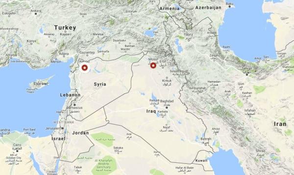 Image: Google map shows Syria's Aleppo and Iraq's Mosul