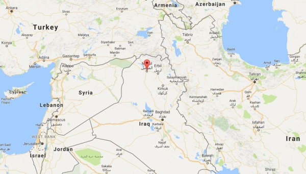 Image: Map showing Mosul, Iraq
