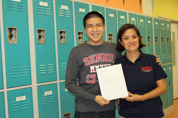 Harmony School of Innovation-Fort Worth, Texas senior, Miguel Padilla and his teacher Angela Garcia.