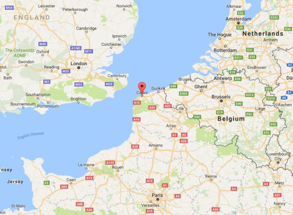 Image: Map showing the location of Calais, France