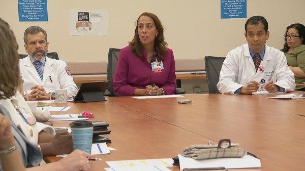 Alina Moran, CEO of NYC Health   Hospitals/Metropolitan, leading a meeting.