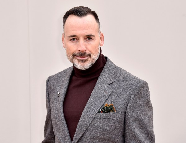 David Furnish wearing Burberry Menswear