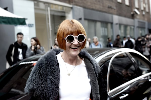 Mary Portas arrives at the Xiao Li show at London Fashion Week