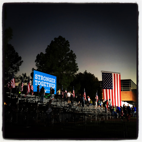 Image: Supporters leave a campaign rally for Clinton at the University of North Carolina