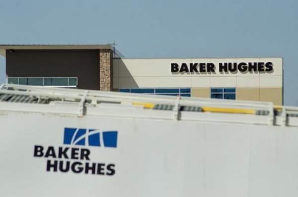 Idle oil equipment is seen in a Baker Hughes yard in Williston